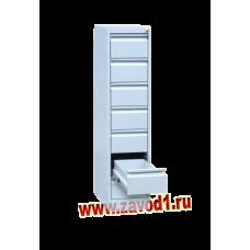 Шкаф картотечный КР-7-1 (7 ящиков на 1 отделение под формат А-5) 1370х305х585 (под заказ 7-10 р. д)