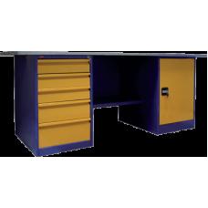 Верстак двухтумбовый, тумба с дверцей и тумба с 5-ю выдвижными ящиками ВП-4 (860х1600/1900х685)
