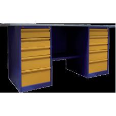 Верстак двухтумбовый, две тумбы с 5-ю выдвижными ящиками ВП-6 (860х1600/1900х685)