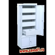 Шкаф двухдверный ШК-4-Д4 (4 выд. ящика и нижнее отделение) 1400х530х350 (под заказ 7-10 р. д)